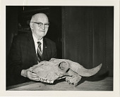 view Portrait of S. Neal Vivian with Fossilized Bison Skull at National Museum of Natural History digital asset number 1