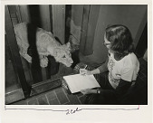 "view Volunteer Marion P. Ball with Atlas Lion Cub ""Amaziga"" at National Zoological Park digital asset number 1"