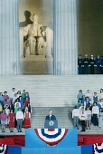 view 1989 George H. W. Bush Presidential Inauguration, Opening Ceremonies at Lincoln Memorial, January 1889 digital asset number 1