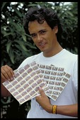 view Jorge Ventocilla with Sheets of Stamps from Panama, STRI digital asset number 1
