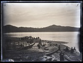 view Kwakiutl Indians on Shore at Fort Rupert Settlement with Canoes in Foreground digital asset number 1