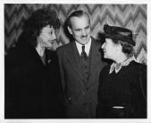 view Lise Meitner (1878-1968), standing at meeting with Arthur H. Compton and Katherine Cornell, 1946 digital asset number 1