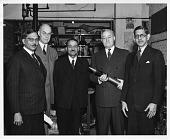 view Indian Scientific Mission visits Battelle Memorial Institute, Columbus, Ohio, 1944. Left to right: Sir Jnan Chandra Ghosh, F. S. Coan, Sir Shanti Swarup Bhatnagar, Clyde Williams, and Prof. J. N. Mukherji digital asset number 1