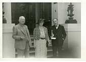 view (left to right): Sir Richard Arman Gregory (1864-1952), his wife Dorothy Page Gregory (Lady Gregory), and writer H.G. (Herbert George) Wells (1866-1946) digital asset number 1