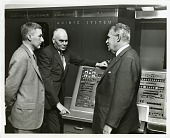 view Nathan Marsh Pusey (left), Howard Hathaway Aiken (center), and Leslie Richard Groves, Jr. (right) digital asset number 1