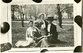 view (left to right): An unidentified woman (possibly Alice Haskins) sitting with Lucia McCulloch (1873-1955), Clara H. Hasse (1880?-1926), and Mary K. Berger digital asset number 1