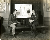 view Major William Ellsworth Kepner (left) and Captain Albert William Stevens (right), with poster on the National Geographic Society - U.S. Army Air Corps stratospheric flight digital asset number 1