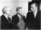 view left to right: Chet Hollifield, Eleanor Roosevelt (1884-1962), and John Strachey digital asset number 1