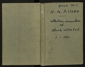 view Book no. 1, H.A. Allard, field collection specimen no. 1-1710 digital asset number 1