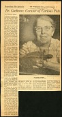 """view Folder 2 Clippings on Cochran and family, 1935, 1937, 1955-1956, 1958, also photographs c. 1954. digital asset: Newspaper clipping - """"Dr. Cochran: Curator of Curious Pets,"""" by Elizabeth Shelton, The Washington Post and Times Herald, August 26, 1956. [Image no. SIA2014-00042]"""