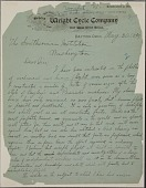 view Letter from Wilbur Wright to Samuel P. Langley, dated May 30, 1899. Page 1 of 2. digital asset number 1