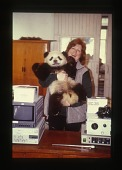 view Animal Research Records digital asset: JoGayle Howard with Giant Panda and Laparoscopy Equipment. [Image No. SIA2017-023034]