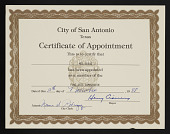 view Mel Casas papers digital asset: Certificate, Fine Arts Commission, City of San Antonio