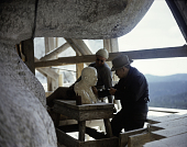 view Mount Rushmore monument photographic transparencies digital asset: Gutzon Borglum and Others at Work on Mount Rushmore: circa 1938-1939