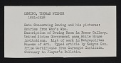 view Thomas Wilmer Dewing and Dewing family papers digital asset: Biographical Material, Dewing, Thomas Wilmer: circa 1915-1939