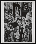 view Reuben Kadish papers digital asset: Artwork by Kadish, work on Siquieros mural Triumph of Good Over Evil at University in Morelia, Mexico, (including photographs of Siquieros, Kadish, Philip Goldstein (Guston), and Jules Langsner)