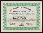 view Naúl Ojeda papers digital asset: Certificate of Appreciation, Parade of the Nations, XXII Latin American Festival