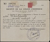 view A.G. (Abel George) Warshawsky papers digital asset: Identification Card, Société de la Légion d'honneur