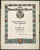 view Confirmation and Baptismal Certificates from The Liberal Catholic Church - New York digital asset: Confirmation and Baptismal Certificates from The Liberal Catholic Church - New York