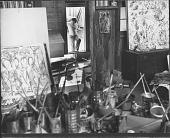 view Jackson Pollock in His Studio by Herbert Matter digital asset: Jackson Pollock in His Studio by Herbert Matter