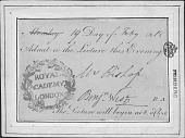 view Ticket to Royal Academy Lecture digital asset: Ticket to Royal Academy Lecture