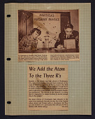 "view ""We Add the Atom to the Three R's"" newspaper clipping digital asset: ""We Add the Atom to the Three R's"" newspaper clipping"