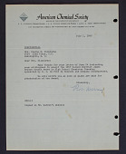 view Letter to Mrs. Elaine M. Kilbourne from the American Chemical Society digital asset: Letter to Mrs. Elaine M. Kilbourne