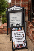 """view """"Racism Is A Sin and Silence Is Complicity; Use Your Voice To End Racism!"""" sign outside a church digital asset: """"Racism is a sin and silence is complicity; use your voice to end racism"""" Sign outside a church"""