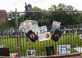 view Protest posters affixed to fence surrounding President  Andrew Jackson statue digital asset: Protest posters affixed to fence surrounding President  Andrew Jackson statue