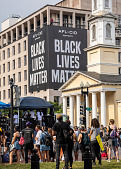 """view """"AFL-CIO supports Black Lives Matter"""" banner on building digital asset: """"AFL-CIO supports Black Lives Matter"""" banner on building"""