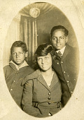 view Portrait of Wilhelmina Patterson with her nephews. digital asset: Portrait of Wilhelmina Patterson with her nephews.