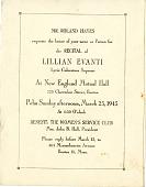 view Recital of Lillian Evanti at New England Mutual Hall invitation digital asset: Recital of Lillian Evanti at New England Mutual Hall invitation