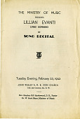view The Ministry of Music presents Lillian Evanti in song recital, John Wesley A.M.E. Zion Church program digital asset: The Ministry of Music presents Lillian Evanti in song recital, John Wesley A.M.E. Zion Church program