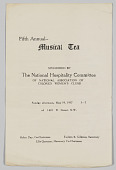 view National Association of Colored  Women's Clubs Fifth Annual Musical Tea program digital asset: National Association of Colored  Women's Clubs Fifth Annual Musical Tea program