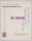 view National Association of Colored Women's Clubs, Inc., 1962 convention program digital asset: National Association of Colored Women's Clubs, Inc., 1962 convention program