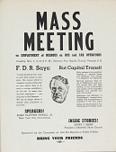 view Mass Meeting on Employment of Negroes as Bus and Car Operators, flyer digital asset: Mass Meeting on Employment of Negroes as Bus and Car Operators, flyer