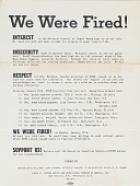view We Were Fired!, flyer digital asset: Flyer, We Were Fired!