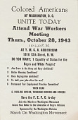 view Colored American of Washington, D.C., Unite To-Day, Attend  War Workers Meeting, flyer digital asset: Colored American of Washington, D.C., Unite To-Day, Attend  War Workers Meeting, flyer