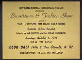 view Institute on Race Relations flyer for an International Cocktail Hour Beauticians & Fashion Show digital asset: Institute on Race Relations flyer for an International Cocktail Hour Beauticians & Fashion Show