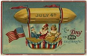 "view ""July 4th - The Day We Celebrate."" Uncle Sam and two girls up in an airship digital asset: ""July 4th - The Day We Celebrate."" Uncle Sam and two girls up in an airship"
