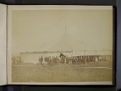 view Albumen photograph of a large circus tent with a group of men and boys gathered around the entrance. Possibly taken at an ascension by the aeronaut Washington Harrison Donaldson, or during the inflation of the Daily Graphic balloon digital asset: Albumen photograph of a large circus tent with a group of men and boys gathered around the entrance. Possibly taken at an ascension by the aeronaut Washington Harrison Donaldson, or during the inflation of the Daily Graphic balloon