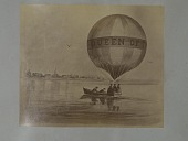 "view Albumen photographic copy of an illustration depicting Samuel Archer King's Queen of the Air balloon alighting on the surface of a body of water with three men in the basket, as two men in a rowboat approach digital asset: Albumen photographic copy of an illustration depicting Samuel Archer King's ""Queen of the Air"" balloon alighting on the surface of a body of water with three men in the basket , as two men in a rowboat approach"