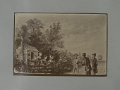 view Albumen photographic copy of an illustration depicting a farmer and his alarmed looking family greeting two men. A balloon can be seen in the background. Possibly an illustration of one of Samuel Archer King's balloon flights digital asset: Albumen photographic copy of an illustration depicting a farmer and his alarmed looking family greeting two men. A balloon can be seen in the background. Possibly an illustration of one of Samuel Archer King's balloon flights