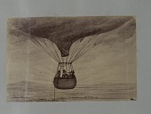 view Albumen photographic copy of an illustration depicting three men in a balloon basket in flight. Possibly an illustration of one of Samuel Archer King's balloon flights digital asset: Albumen photographic copy of an illustration depicting three men in a balloon basket in flight. Possibly an illustration of one of Samuel Archer King's balloon flights