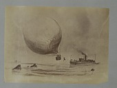 view Albumen photographic copy of an illustration depicting a balloon attached by a line to a small steam boat; one of the aeronauts is going down the line hand over hand. Possibly an illustration of one of Samuel Archer King's balloon flights digital asset: Albumen photographic copy of an illustration depicting a balloon attached by a line to a small steam boat; one of the aeronauts is going down the line hand over hand. Possibly an illustration of one of Samuel Archer King's balloon flights