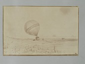 """view Albumen photographic copy of an illustration depicting Samuel Archer King's Star Spangled Banner balloon landing roughly on the shore; one of the aeronauts has fallen from the balloon basket. Star Spangled Banner was lost in Boston Harbor on a flight o... digital asset: Albumen photographic copy of an illustration depicting Samuel Archer King's """"Star Spangled Banner"""" balloon landing roughly on the shore; one of the aeronauts has fallen from the balloon basket. """"Star Spangled Banner"""" was lost in Boston Harbor on a flight on July 9, 1862"""