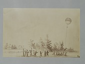 "view Albumen photographic copy of an illustration depicting Samuel Archer King's Star Spangled Banner balloon over a farm with men holding the drag rope - one man is being carried aloft by the rope digital asset: Albumen photographic copy of an illustration depicting Samuel Archer King's ""Star Spangled Banner"" balloon over a farm with men holding the drag rope - one man is being carried aloft by the rope. ""Star Spangled Banner"" was lost in Boston Harbor on a flight on July 9, 1862"