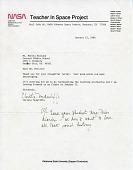 view Sharon Christa McAuliffe Letter digital asset: Sharon Christa McAuliffe Letter