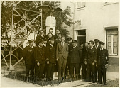 view Photograph of Charles Augustus Lindbergh with Portuguese Naval Aeronautical Service digital asset: Photograph of Charles Augustus Lindbergh with Portugese Naval Aeronautical Service