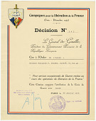 view [Page 95, loose certificate]  Croix de Guerre avec Palme digital asset: [Page 95, loose certificate]  Croix de Guerre avec Palme